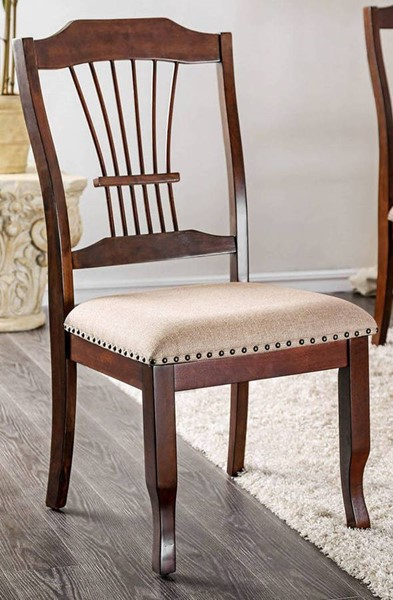 2 Furniture of America Jordyn Brown Cherry Beige Side Chairs FOA-CM3626SC-2PK