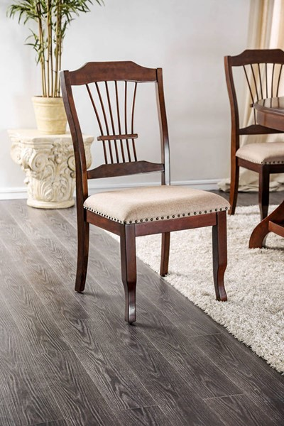 2 Furniture of America Jordyn Brown Cherry Side Chairs FOA-CM3626SC-2PK