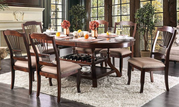 Furniture of America Jordyn Brown Cherry 7pc Dining Room Set FOA-CM3626T-7PC