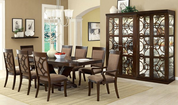 Woodmont Contemporary Walnut Fabric Solid Wood Dining Room Set FOA-CM3663-DR