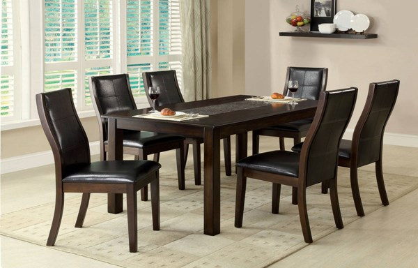 Townsend I Brown Cherry Leatherette Solid Wood Dining Room Set FOA-CM3669-DR