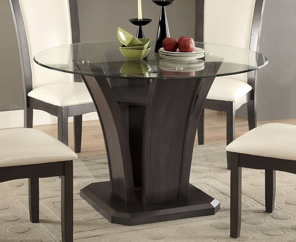Furniture of America Manhattan I Gray Round Dining Table FOA-CM3710GY-RT-TABLE