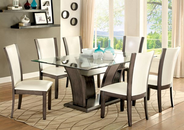 Manhattan I Contemporary Solid Wood Leatherette Glass Dining Room Set FOA-CM3710-DR