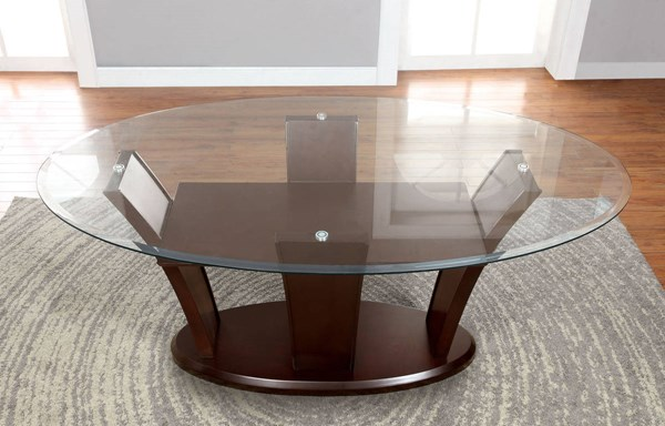 Furniture of America Manhattan I Glass Top Oval Table FOA-CM3710OT-TABLE