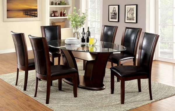 Manhattan I Contemporary Dark Cherry Solid Wood Glass Dining Room Set FOA-CM3710OT-DR
