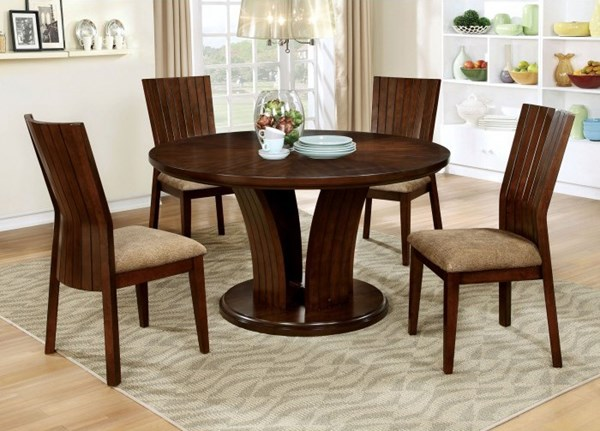 Montreal I Transitional Walnut Solid Wood Leatherette Dining Room Set FOA-CM3711-DR