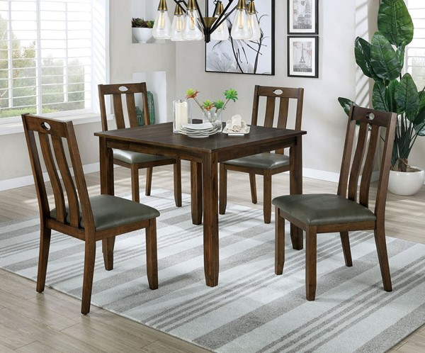 Furniture Of America Brinley I Walnut Gray 5pc Dining Set FOA-CM3717T-5PK