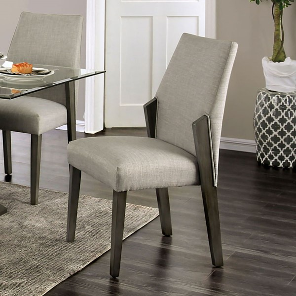 2 Furniture Of America Turton Gray Side Chairs FOA-CM3718SC-2PK