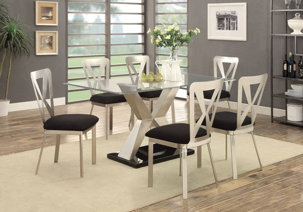 Kera Contemporary Silver Black Fabric Metal Glass Dining Room Set FOA-CM3725-DR