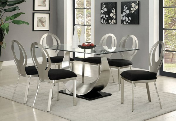 Orla Silver Stainless Steel Black Microfiber Glass Dining Room Set FOA-CM3726-DR