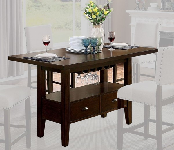 Furniture of America Lordello Brown Cherry Counter Height Table FOA-CM3730PT-TABLE