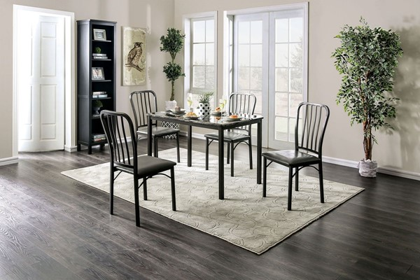 Furniture Of America Menno Dark Gray 5pc Dining Set FOA-CM3731T-5PK