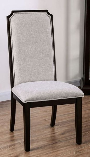 2 Furniture Of America Gillam Espresso Gray Side Chairs FOA-CM3734SC-2PK