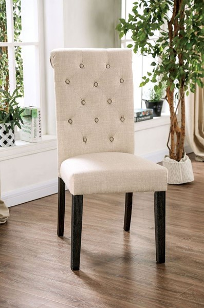 2 Furniture Of America Alfred Antique Black Ivory Side Chairs FOA-CM3735IV-SC-2PK