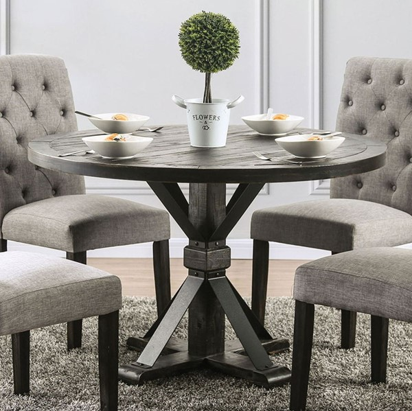 Furniture Of America Alfred Antique Black Round Table FOA-CM3735RT