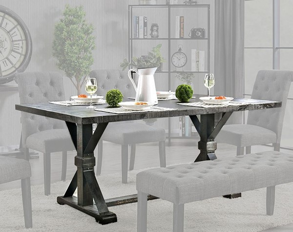 Furniture Of America Alfred Antique Black Dining Table FOA-CM3735T