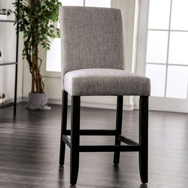 2 Furniture Of America Brule Light Gray Counter Height Chairs FOA-CM3736LG-PC-2PK