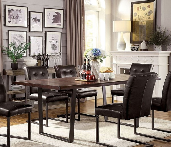 Furniture Of America Pisek Dark Oak Gun Metal Dining Table FOA-CM3737T-TABLE