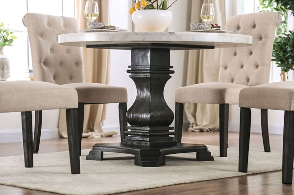 Furniture Of America Elfredo White Antique Black Round Table FOA-CM3755RT-TABLE