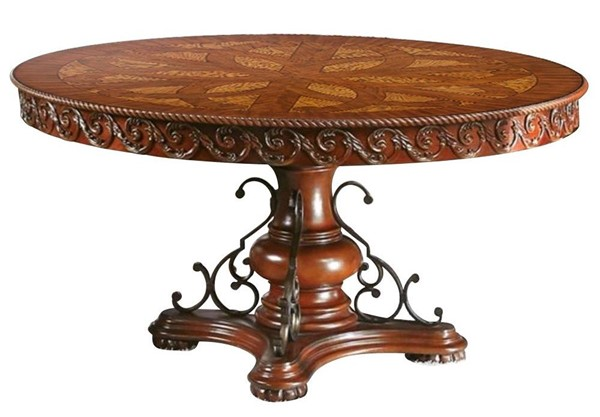 Furniture of America Lucie Brown Cherry Round Dining Table FOA-CM3788RT-TABLE
