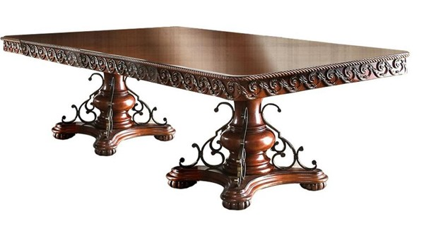 Furniture of America Lucie Brown Cherry Dining Table FOA-CM3788T-TABLE