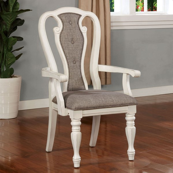 2 Furniture of America Leslie White Wash Ash Brown Arm Chairs FOA-CM3795AC-2PK
