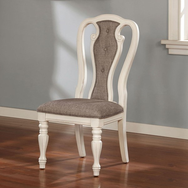 2 Furniture of America Leslie White Wash Ash Brown Side Chairs FOA-CM3795SC-2PK