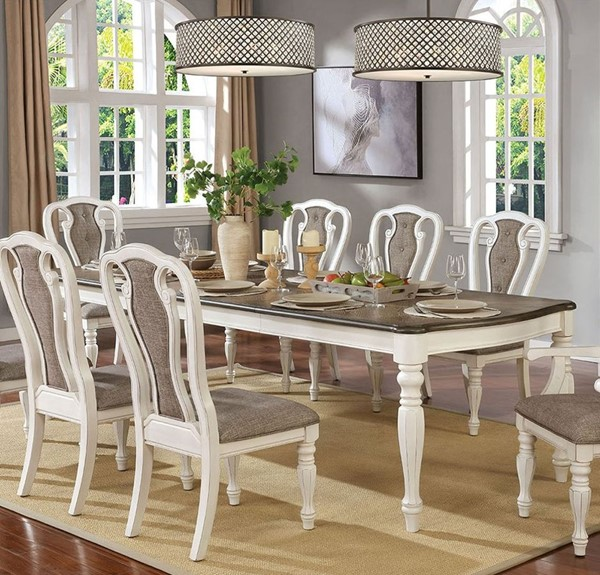 Furniture of America Leslie White Wash Brown 7pc Dining Room Set FOA-CM3795T-7PC