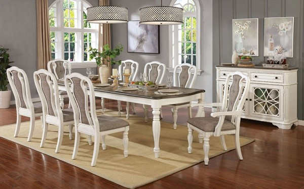 Furniture of America Leslie White Wash Brown 9pc Dining Room Set FOA-CM3795T-9PC