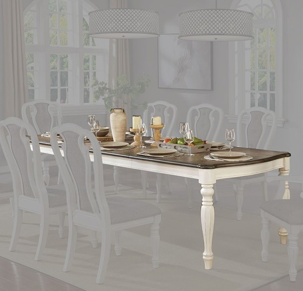 Furniture of America Leslie White Wash Walnut Extension Dining Table FOA-CM3795T