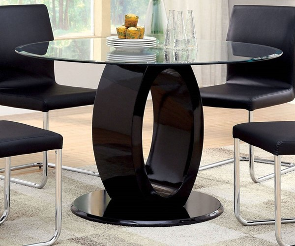 Furniture of America Lodia I Black Round Table FOA-CM3825BK-RT-TABLE