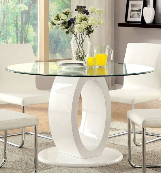 Furniture of America Lodia I White Round Table FOA-CM3825WH-RT-TABLE