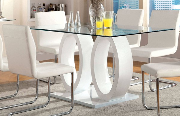 Furniture of America Lodia I White Dining Table FOA-CM3825WH-T-TABLE