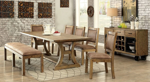 Gianna Rustic Pine Solid Wood Leatherette Dining Room Set FOA-CM3829-DR