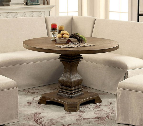 Furniture of America Nerissa Antique Oak Round Table FOA-CM3840A-RT-TABLE