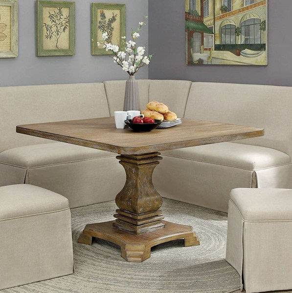 Furniture of America Nerissa Antique Oak Square Dining Table FOA-CM3840A-T-48-TABLE