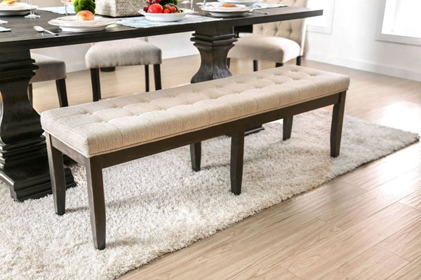 Furniture of America Nerissa Beige Bench FOA-CM3840BN