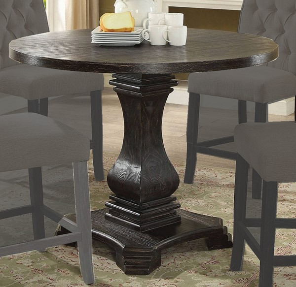 Furniture of America Nerissa Antique Black Round Counter Height Table FOA-CM3840RPT-TABLE