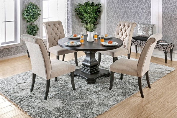 Nerissa Antique Black Solid Wood Ivory Fabric Dining Room Set FOA-CM3840-DR