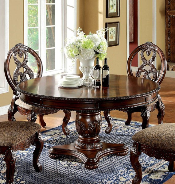 White And Cherry Kitchen Table Antique White Round: Furniture Of America Tuscany I Antique Cherry Round Dining
