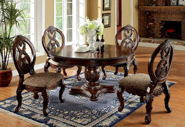 Tuscany II Traditional Cherry Fabric Solid Wood Dining Room Set FOA-CM3845-DR1