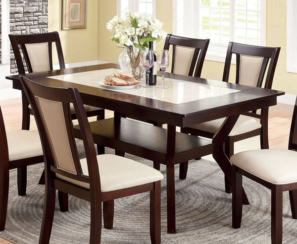 Furniture of America Brent Faux Marble Insert Dining Table FOA-CM3984T