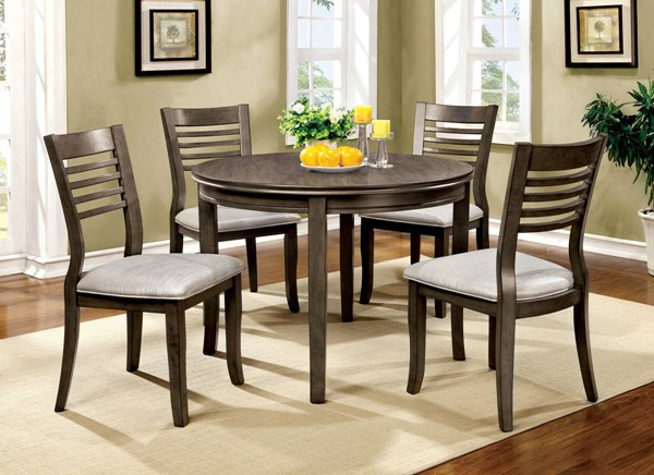 Dwight III Transitional Gray Fabric Solid Wood Dining Room Set FOA-CM3988GY-DR