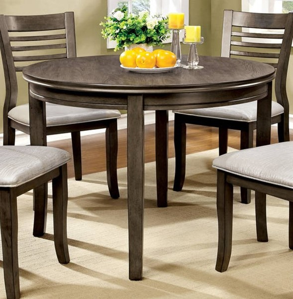 Furniture of America Dwight III 48 Inch Round Dining Table FOA-CM3988GY-RT-48