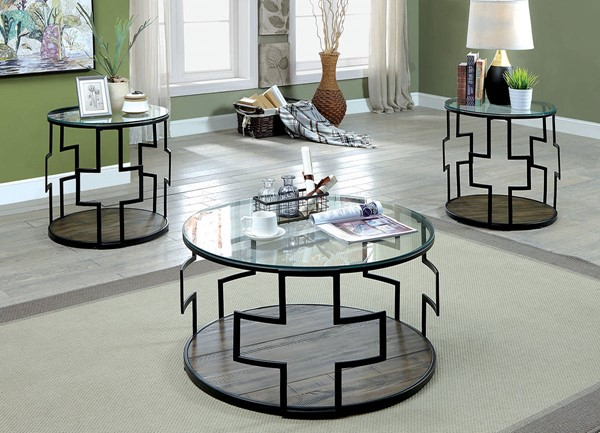 Furniture of America Christabel Black 3pc Coffee Table Set FOA-CM4173-3PK
