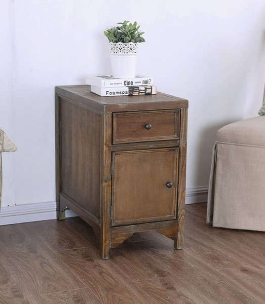 Furniture of America Meadow Oak Side Table FOA-CM4327A-T