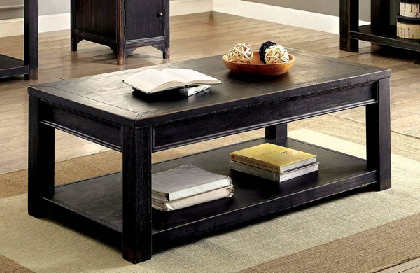 Furniture of America Meadow Antique Black Coffee Table FOA-CM4327C
