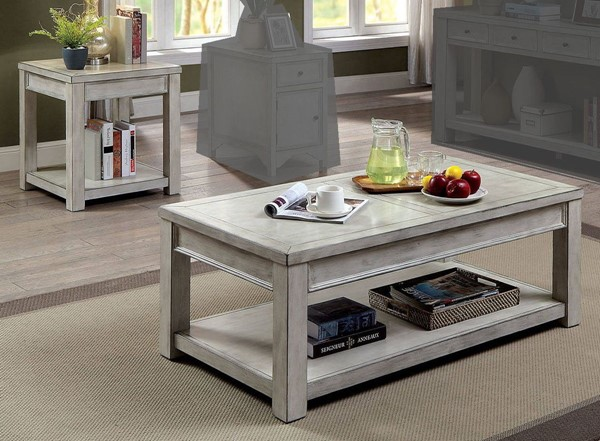 Furniture of America Meadow Antique White 3pc Coffee Table Set FOA-CM4327WH-OCT-S1