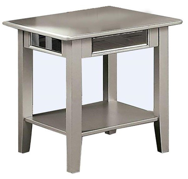 Furniture of America Celestine Silver End Table with 5mm Beveled Antique Mirror FOA-CM4347E