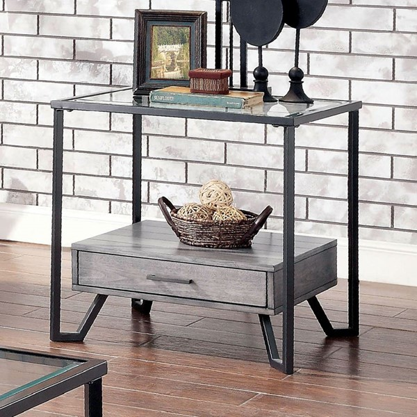 Furniture Of America Ponderay Gray Black End Table FOA-CM4348E